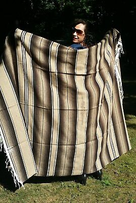 "Mexican Serape Sarape Fringed Blanket Bedspread 84"" x 60"" Tan White Brown"