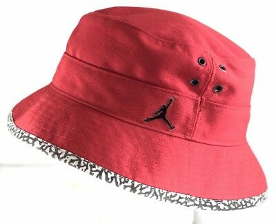 NIKE AIR JORDAN Jumpman Elephant Print Bucket Hat Red Black Gray L XL 100% df8ccc440