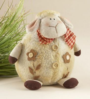 """New Primitive Country Folk Art Weighted Fluffy WOOLY SHEEP DOLL Shelf Sitter 10"""""""