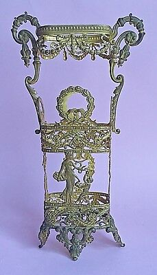 Antique Victorian Neoclassical Brass/Bronez Ormolu Mount Vase Gilt Cover Sleeve