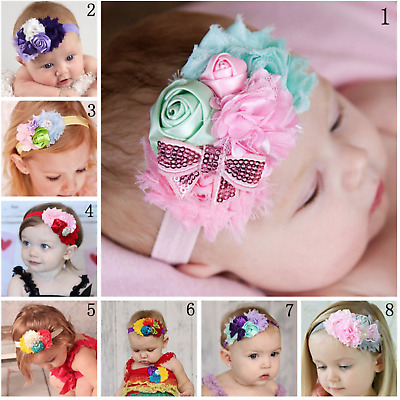 Newborn Baby Girl Bow Headband Toddler Infant Flower Hair Band Handmade Headwear