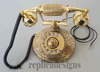 ''solid Brass Vintage French Victorian Style Rotary Dial Phone''