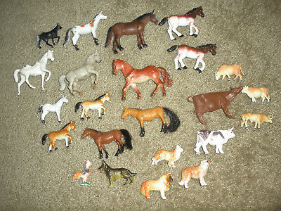 Mixed Lot Of 23 Plastic Cows ,horse,dogs and a rooster