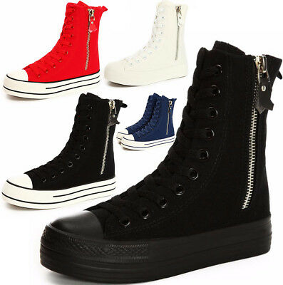 2c1f3f479294 New Womens Flats Canvas Sneakers Boots High Top Creeper Lace up Platform  Shoes
