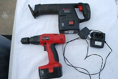 Power devil cordless drill + reciprocating saw 18v 2 batterys and charger