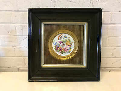 Antique European Likely German Framed Porcelain Plaque Painted Floral Decoration