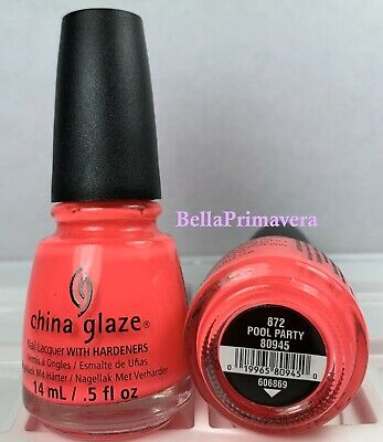 China Glaze Nail Polish Pool Party 872 #80945 SUMMER Bright NEON Orange Lacquer