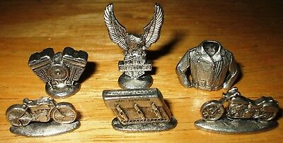 LOT OF SIX (6) Harley Davidson Monopoly Collectible Tokens AUTHORIZED EDITION