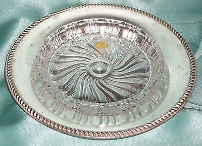 Estate Collectable Silver Tone Glass Crystal Dish Bleikristal Germany ~ Vintage