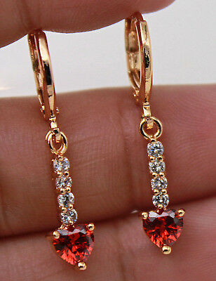 "18K Yellow Gold Filled - 1.2"" Sweet Heart Ruby Topaz Gems Party Dangle Earrings"