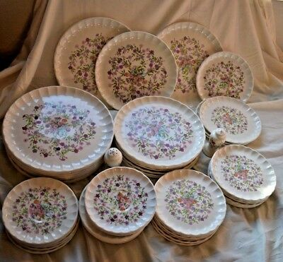 52pc W S George Bolero Fiesta Floral Set George China 50s dinnerware saucer plat