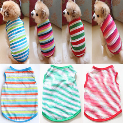 Pet Spring Summer Stripe Dog Vest Puppy Cotton Coat T Shirt Cat Clothes Apparel
