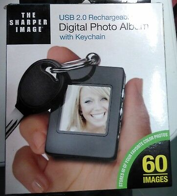 New In Box Sharper Image Usb 2.0 Rechargeable Digital Photo Album Keychain