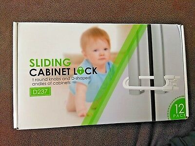 Adoric 12 Pack  Cabinet Locks, U-Shaped Sliding Baby Toddler Safety  Latches