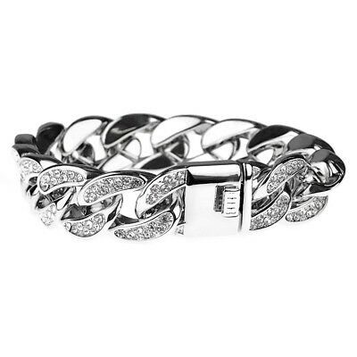 """Mens Bracelet Silver Tone 8.5"""" x 18MM Hip Hop Iced-Out Bling Heavy Thick Cuban"""