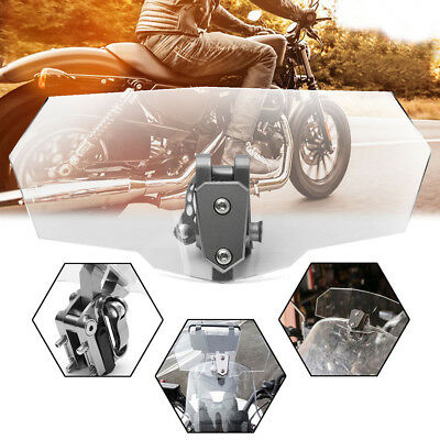 Universal Motorcycle Adjustable Front Clip On Wind Deflector Windscreen Bracket