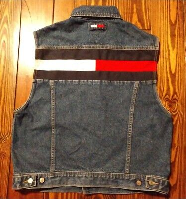 Vintage Tommy Hilfiger Tommy Jeans Denim Jean Vest Big Flag Size XL Excellent