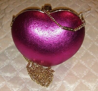 d81ec2bf03b4 Michael Kors NEW Pink Pearlized Small Leather Heart Box Clutch Bag $148