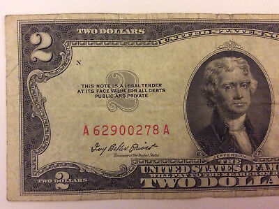 "1953 A $2 Red Seal Note ""A 62900278 A"" Old Money - Rare"