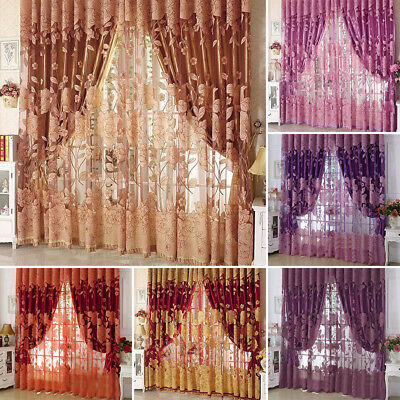 Floral Lace Door Window Curtain Room Drape Panel Voile Tulle Sheer Scarf Valance