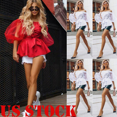 US Fashion Sexy Womens Long Sleeve Loose Blouse Casual Shirt Summer Tops T-Shirt