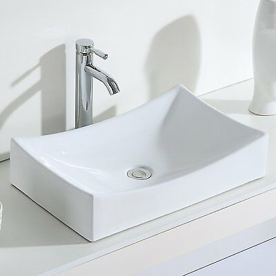 ERIDANUS Jonah-s Counter Top Hand Wash Basin Sink Bathroom Cloakroom White,55cm