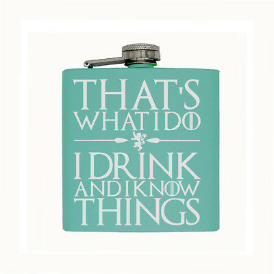 Stainless Steel Hip Flask Pocket, I Drink And I Know Things, Individual 6 Oz.
