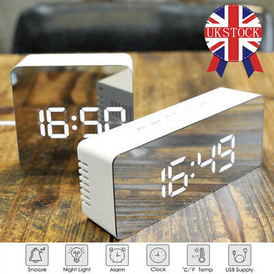 Mirror Digital Display LED Snooze Alarm Clock Time Temperature Night Mode USB UK