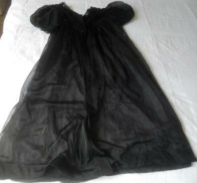 Vintage 1960's Sheer Black Nylon Baby Doll Pin Up Negligee Ssw 32 Inch 81 Cms