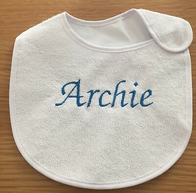 Personalised Baby Bib Any Name Embroidered In Any Colour