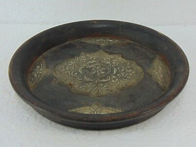 Antique Vintage Round Wooden Plate Silver Carvings Plate Home Decor Rare 405 4#9