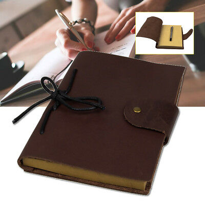 Vintage Leather Cover Journal Sketch Notebook Stitched Travel Diary Planner Book