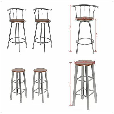 Set 2 Bar Stools - Breakfast Kitchen Metal Chiars Barstools Wooden Seat Brown UK