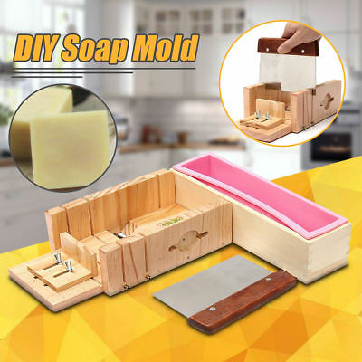 Loaf Soap Mould Silicone Wooden Mold Soap Making Tools Slicer Cutter W/ Knife