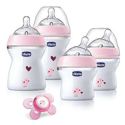 Chicco NaturalFit Newborn Gift Set - Pink Deco, 4 Pack Baby Bottle Set Plus with