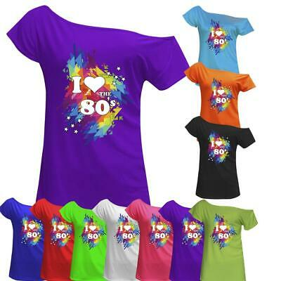 I Love The 80s T Shirt Top Ladies Off Shoulder Retro Hen Party Outfit 7007 Lot