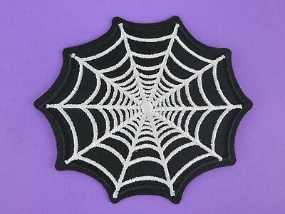 Spider Web Patch Iron On Large Black White 50s Goth Horror Halloween Occult Webs