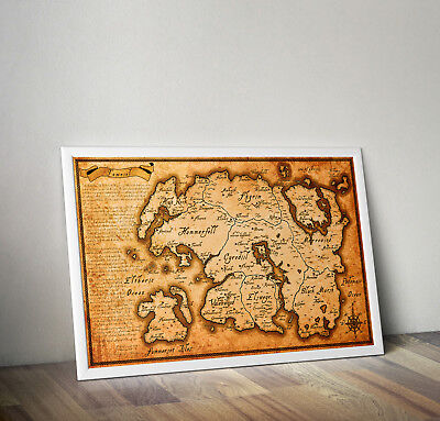 Map of Tamriel from Elder scrolls skyrim poster print wall art gift merchandise