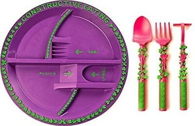 Constructive Eating Garden Fairy Plate and Garden Fairy Utensil Set 3 piece New