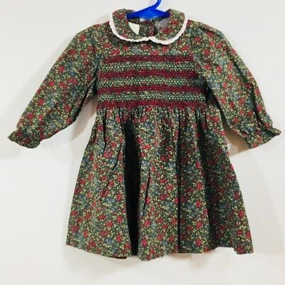 d7b4521eb Baby Girl Smocked Dress Laura Ashley Mother Child Green Floral Holiday 12  Months