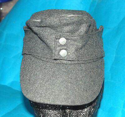 German Ww11 Style Elite Officers Grey Cotton Field Cap With Silver Beading. (L)