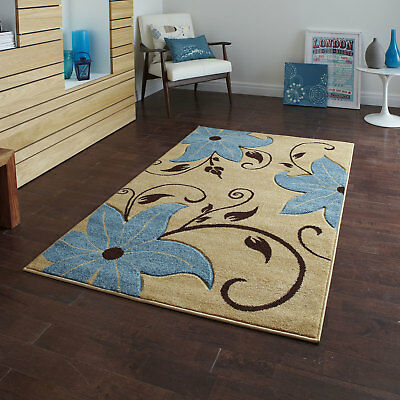 Beige Blue Large Small Modern Verona Design Floral 12mm Thick Flower Rugs Runner