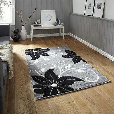 Rug Runner Modern Verona Carved 12mm Thick Small Large Grey Black Floral Quality