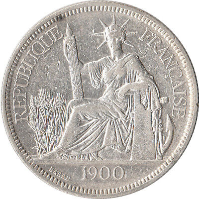 1900 French Indo-China (Indochina) 1 Piastre Large Silver Coin KM#5a.1