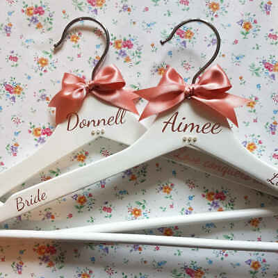 White Personalised Wedding Dress Hanger with ROSE GOLD writing ~ Bridesmaid gift
