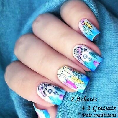❤️nouveau Stickers Attrape Reves Plumes  Bijoux Ongles Water Decals Nail Art