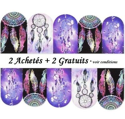 ❤️nouveau Stickers Attrape Rêves Plumes Bijoux Ongles Water Decals Nail Art