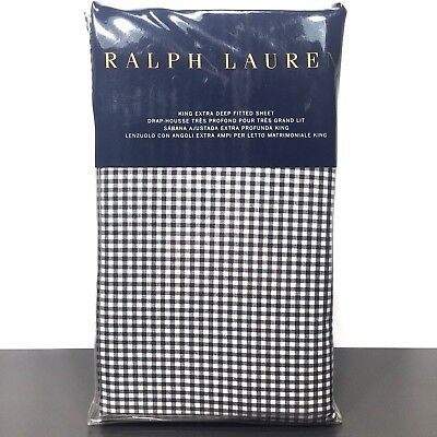 RALPH LAUREN Home King Gingham Black White Onyx Check Fitted Sheet (MSRP $185)