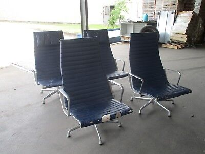 Herman Miller Eames Aluminum Group Blue Lounge Chair 20000