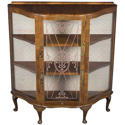 Antique Style Chinoiserie Small Glass Door China Cabinet Display Cupboard Short